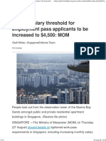 Monthly salary threshold for employment pass applicants to be increased to $4,500_ MOM
