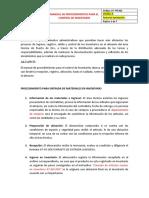 MANUAL DE PROCEDIMIENTOS PARA EL CONTROL DE INVENTARIO