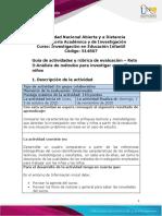 Guía de actividades y rúbrica de evaluación - Unidad 2 - Reto 3 - Análisis de métodos para investigar con niñas y niños (1)