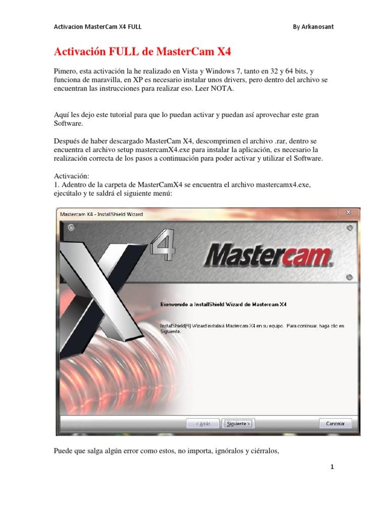 tutorial de activaci n rh es scribd com Mastercam 9 En Mastercam Version 1.0
