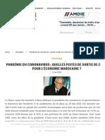 Pandémie Du Coronavirus _ Quelles Pistes De Sortie De Crise Pour L'économie Marocaine _