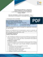 Guía de actividades y rúbrica de evaluación - Presaberes - Paso 1 - Identificación de presaberes y necesidades de aprendizaje