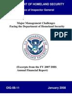 Major Mgt Problems facing DHS