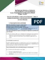 Guía de actividades y rúbrica de evaluación - Unidad 3- Reto 4- Análisis de técnicas e instrumentos de investigación con las infancias