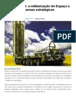 a militarização do Espaço e o controle de armas estratégicas