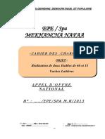 Cahier des charges - Réalisation de deux Etables de 60 et 15