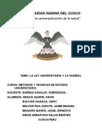 LA LEY UNIVERSITARIA EN EL PERU