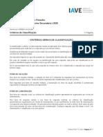 Exame de Filosofia 2020, 1ª fase, critérios de classificação