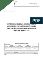 CO-SEN-M&L-PRO-004 Rev. 0 DETERMINACIÓN DEL % DE AGUA EN CRUDO POR KARL FISCHER V20