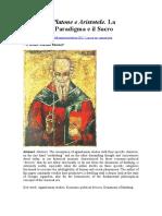 Agamben, Platone e Aristotele La Teologia, il Paradigma e il Sacro