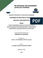 """""""NIVEL DE DESEMPEÑO SÍSMICO DEL EDIFICIO N° 01 DE LA INSTITUCIÓN EDUCATIVA SAN RAMÓN (ANEXO CHONT"""