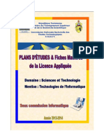 PLAN D'ETUDES TECHNOLOGIES DE L'INFORMATIQUE SEPTEMBRE 2014