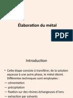 Élaboration du métal