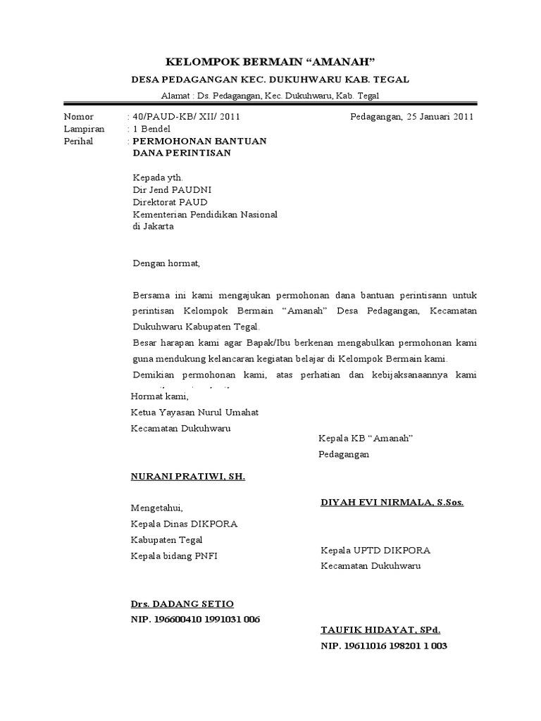 Contoh Surat Permohonan Bantuan Dana Ke Menteri Pendidikan Untuk Perintisan Paud