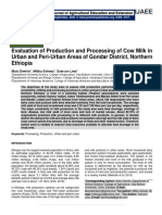 Evaluation of Production and Processing of Cow Milk in Urban and Peri-Urban Areas of Gondar District, Northern Ethiopia