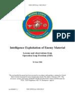 Intelligence exploitation of enemy material