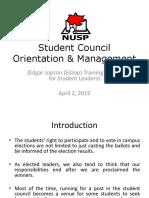 NUSP_ SC Orientation & Management