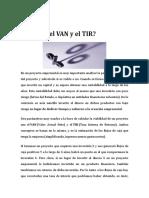 Qué es VAN y el TIR