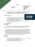 Mohanra S S Biotechnologist's Resume