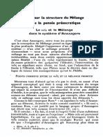 Essai sur la structure du mélange dans la pensée présocratique Anaxagore