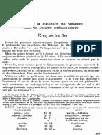Essai sur la structure du Mélange dans la pensée présocratique Empédocle