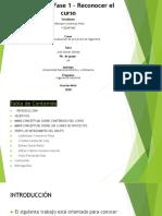 Fase 1 Reconocimiento del curso Formulación y Evaluación de Proyectos de Ingenieria