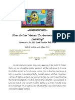 How Do Our Virtual Environment Foster Learning