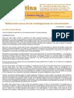 Mata, María Cristina (2000)_ Reflexiones acerca de las investigaciones en comunicación. Revista Latina de Comunicación Social, 35 _ Extra Argentina_