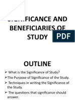 6. SIGNIFICANCE AND BENEFICIARIES OF STUDY
