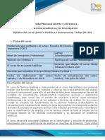 Syllabus de curso Química Analítica e Instrumental
