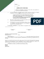 Affidavit of Buyer