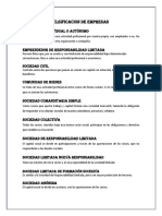 CLSIFICACION DE EMPRESAS