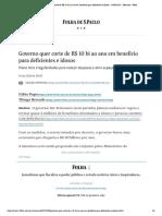 Governo quer corte de R$ 10 bi ao ano em benefício para deficientes e idosos - 14_09_2020 - Mercado - Folha
