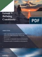 CESC Lesson 1 & 2 defining community