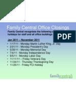 FCI Holiday Closings 2011