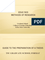 Guide To Preparation of a Thesis Educ 503 2020.pptx