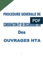 PROCEDURE DE CONSIGNATION ET DE DECONSIGNATURE DES  OUVRAGES HTA