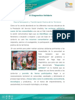 El Diagnostico Solidario para la Participación y Transformación Positiva de los Territorios