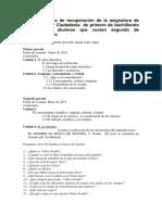 actividades de recuperación de la asignatura de filosofía y ciudadanía  de primero de bachillerato para los al