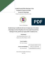 Desinfección por ozonificación del área de cirugía mayor de la clínica Odontológica Dr. René Puig Bentz de la Universidad Nacional Pedro Henríquez Ureña, period