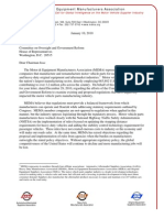 Motor & Equipment Manufacturers Association Letter to Chairman Issa - January 10, 2011