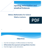 MA102 Mathematics for science Week 4 lectures