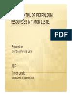 Potential for Petroleum Resources - Timor Leste (2009)