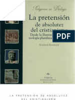 bernhardt, reinhold - la pretension de absoluted del cristianismo