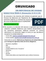 COMUNICADO MATRICULA POR REPITENCIA DE UNIDAD DIDACTICA 2020-II