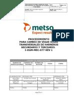 P-DGM-MEC-077 Proc. cambio de vigas transversales en harneros secundarios y terciarios REV 1
