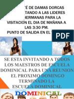 EL COMITÉ DE DAMAS DORCAS ESTA INVITANDO A