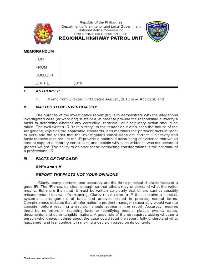 Incident Report Format - Design Templates