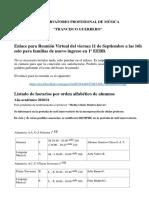 Listados de horarios de alumnos de 1º de básicas y ENLACE REUNIÓN VIRTUAL 1º EEBB