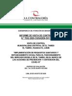Contraloría Mercado de El Tambo No Cumple Todas Las Medidas Sanitarias Contra El Covid-19